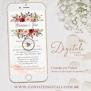 Convite Animado em Vídeo para Casamento Florido Aquarela Rosa Rose
