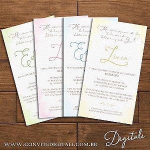 Convite Batizado Aquarela - Arte Digital