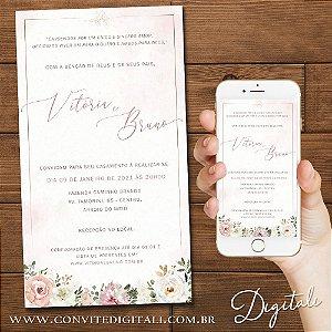 Convite Casamento Florido Rosa Chá Branco e Dourado - Arte Digital