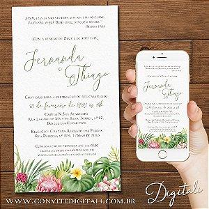 Convite Casamento Tropical Aquarela - Arte Digital