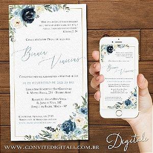 Convite Casamento Florido Azul Marinho e Azul Serenity - Arte Digital