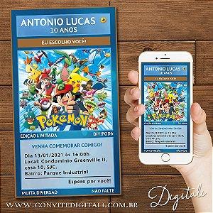 Convite Aniversário Carta Pokemón - Arte Digital