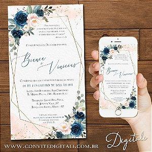 Convite Florido Azul Com Formas Geométricas - Arte Digital