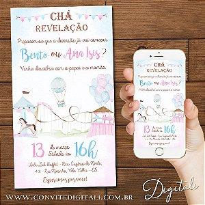 Convite Chá Revelação Parque de Diversões Aquarela  - Arte Digital