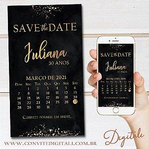 Save the date  Aniversário Preto e Dourado Elegante - Arte Digital