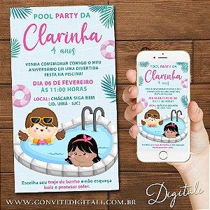 Convite Pool Party Piscina - Arte Digital