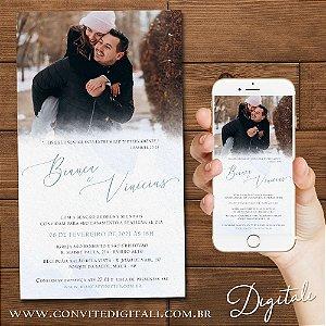 Convite Casamento Azul Serenity com Foto Aquarela - Arte Digital