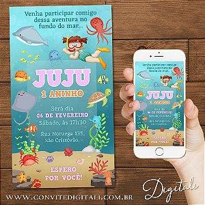 Convite Fundo do Mar e Mergulhadora Menina - Arte Digital
