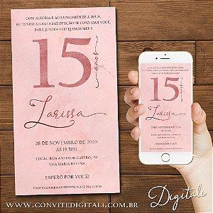 Convite 15 anos Rose Gold - Arte Digital