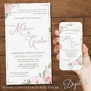 Convite Casamento Florido Rosa Aquarela - Arte Digital