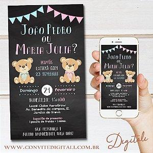Convite Cha Revelação Ursinho Chalkboard - Arte Digital