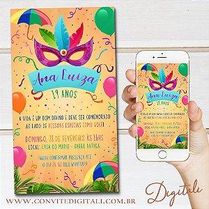 Convite Aniversário Carnaval - Arte Digital