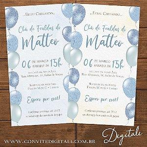 Convite Azul e Bege Balões - Arte Digital