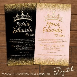 Convite 15 anos Preto e Dourado ou Rosa e Dourado - Arte Digital