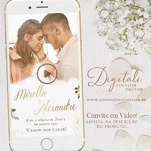 Convite Animado em Vídeo para Casamento Branco Verde e Dourado