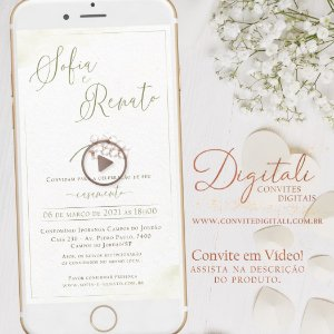 Convite Animado em Vídeo para Casamento Clean Branco Verde com Orquídea