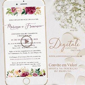 Convite Animado em Vídeo para Casamento Florido Aquarela