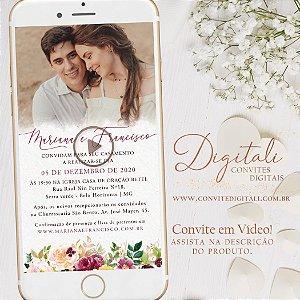 Convite Animado em Vídeo para Casamento Florido Aquarela com Foto