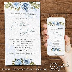 Convite Aquarela Azul Florido - Arte Digital