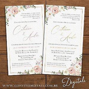 Convite Florido Rose Branco e Dourado - Arte Digital