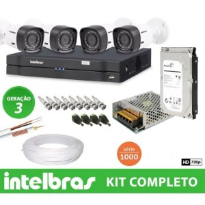 Kit Intelbras completo Alta definição - 4 Câmeras - 1 Mega