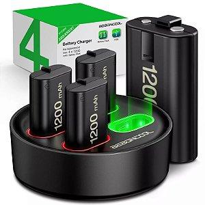 Bateria recarregável de 4x1200mah + carregador usb para xbox, séries x/s/xbox one s/x, bateria sem fio para controle de xbox one