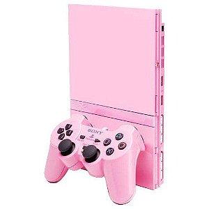 Ps2 Slim - Sony - Japonês - Rosa - Pink - 2 Controles. (SEMI-NOVO) serie especial