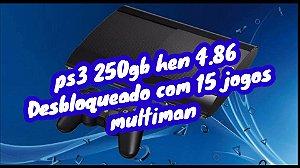 Ps3 Super Slim - Sony - Preto - 250GB - 1 Controle ( Preto) desbloqueado hen 4.86 com 15 jogos internos