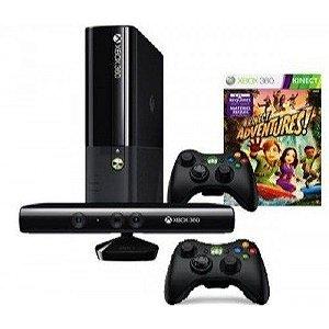 Xbox 360 Super Slim 4g modelo 2015 e 2016 com 2 controle e kinect com 2 jogos de brindes