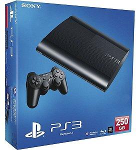 PLAYSTATION 3 MODELO SUPER SLIM COM 1 CONTROLE 250GB ( SEMI-NOVO) COM 1 JOGO DE BRINDE