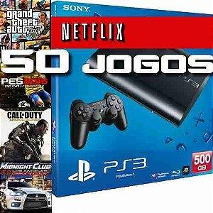 PLAYSTATION 3 MODELO SUPER SLIM COM 1 CONTROLE 500GB ( SEMI-NOVO) COM 50 jogos completo JOGA ON-LINE