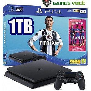 Playstation 4 SLIM - 1TB - Com Fifa 2019 (em Português BR) - HD 1TB