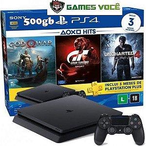 Playstation 4 SLIM - 500gb - Com 3 Jogos em Mídias Físicas: God of War 4, Gran Turismo Sports