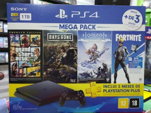 Playstation 4 Slim 1TB - Com 4 Jogos: GTA 5, Days Gone, Horizon, Fortnite