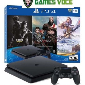 Playstation 4 Slim 1TB - Com 3 Jogos: God of War / The Last of Us / Horizon Zero Down