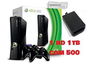 Xbox 360 - Microsoft -RGh com 2 controle + 1tb hd interno com 500jogos atenção 110volts