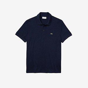 Camisa Polo Lacoste Regular Fit Algodão Lisa - Azul Marinho