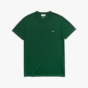 Camiseta Lacoste Jérsei de Algodão Pima com Gola Redonda - Verde Escuro