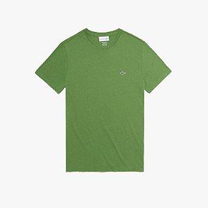 Camiseta Lacoste Jérsei de Algodão Pima com Gola Redonda - Verde Musco