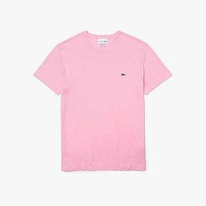 Camiseta Lacoste Jérsei de Algodão Pima com Gola Redonda - Rosa
