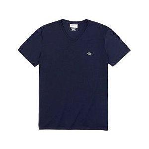 Camiseta Lacoste  Jérsei de Algodão Pima com Gola V - Azul Marinho