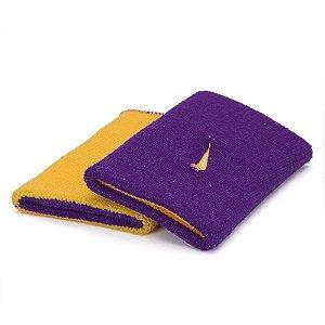 Munhequeira Comprida Nike Dri-Fit Dupla Face - Amarelo e Roxo