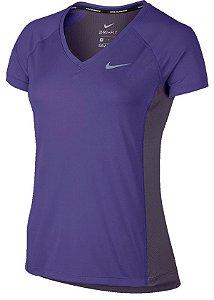 Camiseta Dry Miler Top V Nike Feminina Roxa