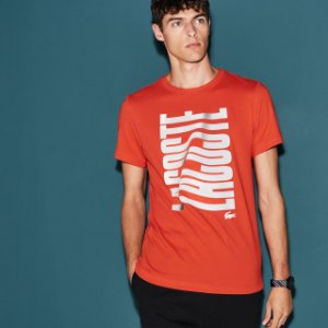 Camiseta Lacoste Sport Com Logo Grande - Laranja