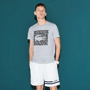 Camiseta Lacoste Sport Estampa Quadrada - Cinza