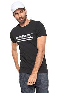 Camiseta Lacoste Sport Com Palavra Lacoste - Preta