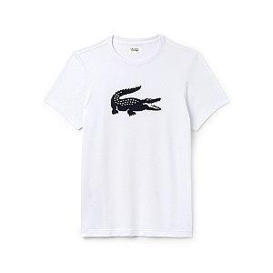 Camiseta Lacoste Sport Com Crocodilo Superdimensionado Branca