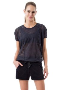 Blusa Live Cut Stripes Preto