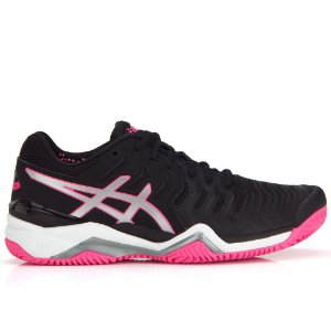 Tenis Asics Gel Resolution 7 Clay Preto e rosa Feminino