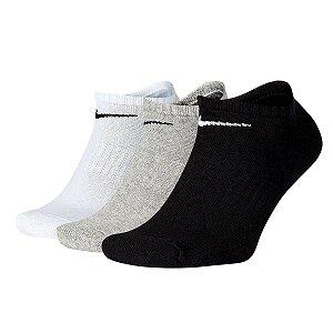Meia Nike SB Everyday Cano Baixo 3 Pares Branco/Preto/Cinza